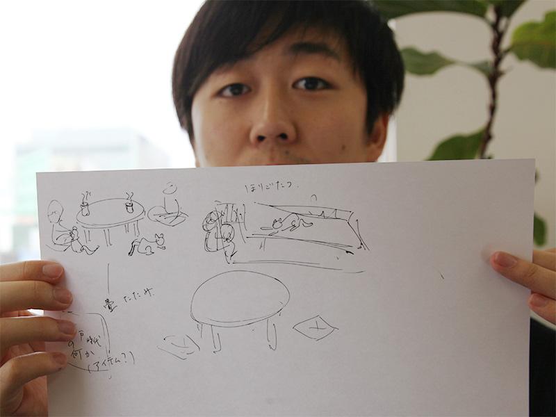 ▲一緒に行くメンバー趙君が描いた、「江戸ねこ茶屋」から想像した会場の絵。