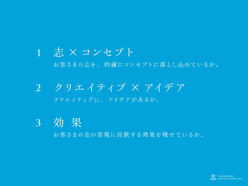 ▲ 今回の志クリエイティブアワードの3つの評価基準。